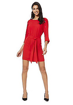 F&F Button Detail Tie Waist Tunic Dress - Red