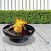 Outsunny Steel Firepit Bowl Wood Burning Stove Garden Round Heater D59.5cm Black