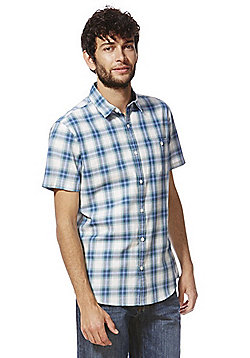 F&F Checked Short Sleeve Shirt - Blue & Cream