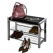 3-Tier Chromed Storage Shoe Rack/Bench with Black Seat Cushion