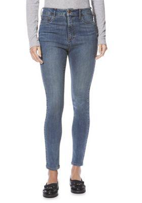 F&F High Rise Tube Pant Super Skinny Jeans Mid Wash 20 Regular leg