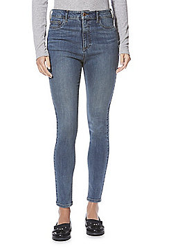 F&F Skinny Super High Rise Jeans - Mid wash