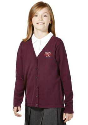 Unisex Embroidered Scallop Edge School Cotton Cardigan with As New Technology 4-5 years Burgundy