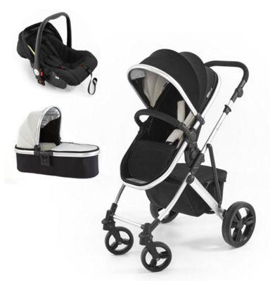 Tutti Bambini Riviera 3 in 1 Silver Travel System, Black & Cool Grey