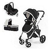 Tutti Bambini Riviera 3 in 1 Silver Travel System, Black & Cool Grey