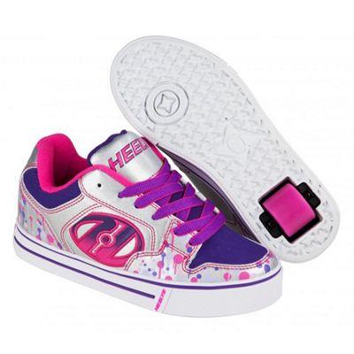 Heelys Motion Plus Silver/Pink/Purple Drip Kids Heely X2 Shoe UK 3