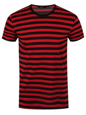 Black and Striped Red Men's T-shirt