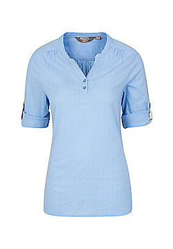 Mountain Warehouse Womens Petra Relaxed Fit 3/4 Sleeve Shirt w/ Roll up Sleeves - Blue