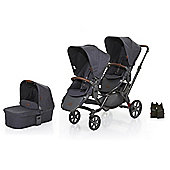 ABC Design 2017 Zoom Tandem, 1 Carrycot & Multi Car Seat Adapter (Street)