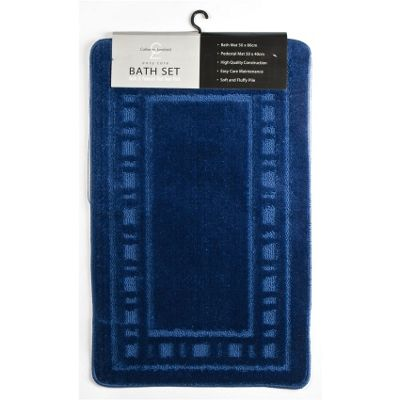 Catherine Landsfield Bathroom Armoni 2pc bathset, Bath Mat 50x80 Pedestal 50x40, navy