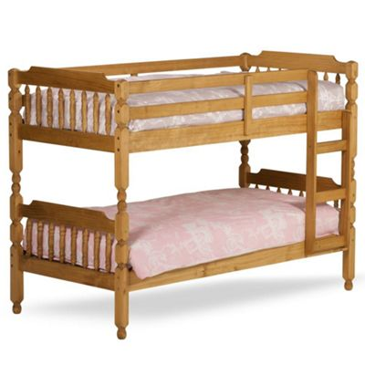 Happy Beds Colonial Wood Kids Bunk Bed with 2 Pocket Spring Mattresses - Waxed Pine - 3ft Single