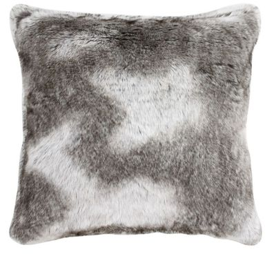 Timber Wolf Faux Fur Cushion Brown and Grey Modern Traditional Decor
