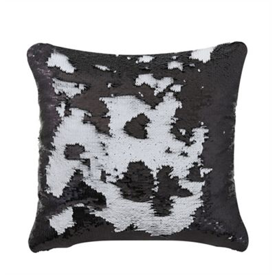 Two Tone Sequin Siren Cushion - Black & White