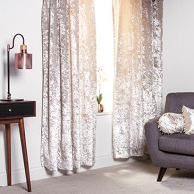 Mink Crushed Velvet Heavyweight Curtains 90