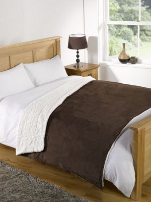 Dreamscene Soft Fleece Sherpa Throw Brown - 152 x 177 cm