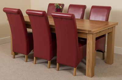 Richmond Solid Oak Extending 200 - 240 cm Dining Table with 6 Red Montana Leather Dining Chairs