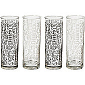 Ravenhead Soho 29cl Transparent Set of 4 Decorated Tumblers with Script