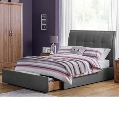 Happy Beds Santorini Fabric End Drawer Storage Bed with Memory Foam Mattress - Grey - 4ft6 Double