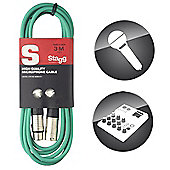Stagg 3m/10ft XLR to XLR Microphone Cable - Green