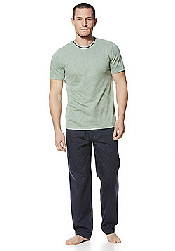 F&F Marl and Spot Print Loungewear Set - Green & Navy