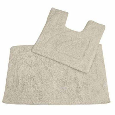 Homescapes Luxury Two Piece Bath Mat Set Cream