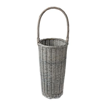 Homescapes Grey Gloss Willow Wicker Umbrella Stand with Handle