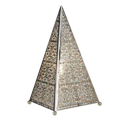 MOROCCAN FRETWORK TABLE LAMP, SHINY NICKEL