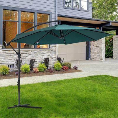 Outsunny 3m Steel Cantilever Umbrella Parasol Sun Shade Patio Hanging Banana - Dark Green