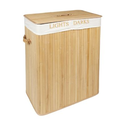 Woodluv Rectangular Folding Bamboo Laundry Basket 100L-Lights & Darks