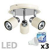 Benton 3 Way Round LED Ceiling Spotlight, Cream