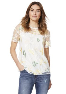 F&F Floral Embroidered Top Ivory 22
