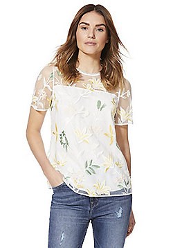 F&F Floral Embroidered Top - Ivory
