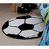 Catherine Lansfield It's a Goal Black & White Rug - 70x70cm