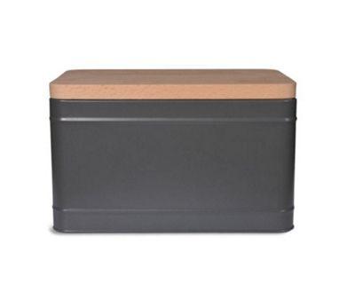 Garden Trading Steel Borough Bread Box Bin in Charcoal