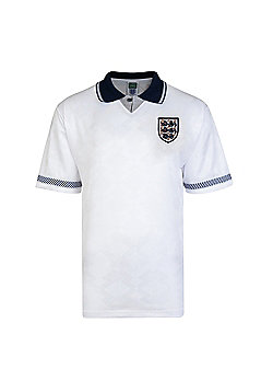 Score Draw England 1990 World Cup Mens Home Football Shirt White - White