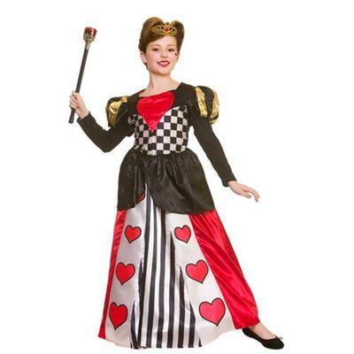 Deluxe Queen of Hearts Childrens Fancy Dress Costume Dress & Crown-Medium 5-7 Years