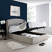 Happy Beds Blenheim Velvet Ottoman Storage Winged Bed - Grey