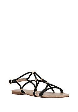 F&F Tube Strap Flat Sandals - Black