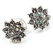 Clear Crystal Floral Stud Earrings - 18mm Diameter