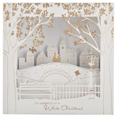 Tesco Luxury Winter Bridge Scene Christmas Cards, 6 Pack