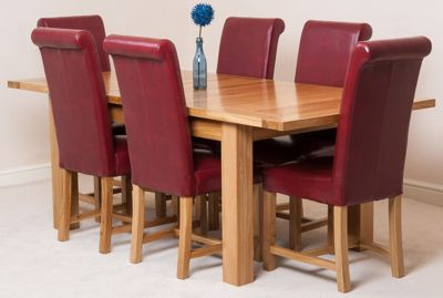Seattle Solid Oak Extending 150 - 210 cm Dining Table with 6 Red Washington Leather Chairs