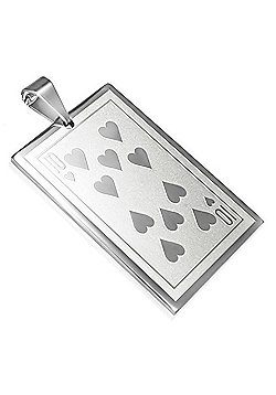 Urban Male Men's Pendant Ten of Hearts Playing Card Design In Stainless Steel