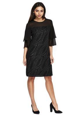 Wallis Swirl Sparkle Double Flute Sleeve Dress 12 Black