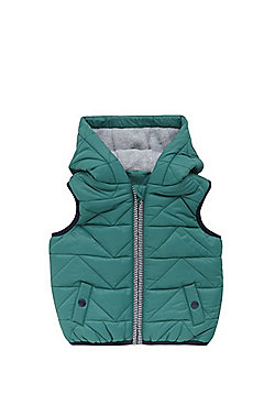 F&F Fleece Lined Quilted Gilet - Green