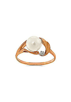 QP Jewellers Diamond & Pearl Ring in 14K Rose Gold