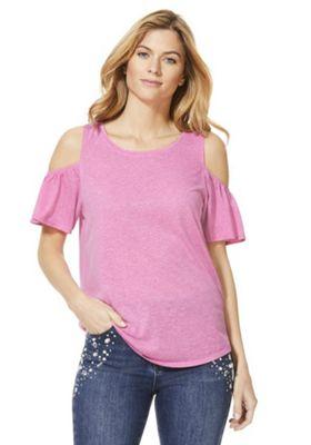 F&F Jersey Cold-Shoulder Top Pink 6