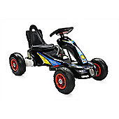 RideonToys4u 6V Electric Go Kart With Air Rubber Wheels 3KM/H Black Ages 3-8