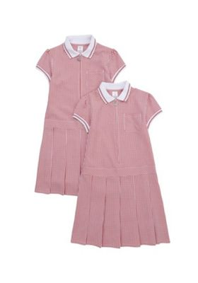 F&F School 2 Pack of Permanent Pleat Gingham Dresses Red/White 3-4 years