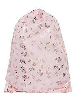 F&F Foil Butterfly Print Drawstring Bag Pink One Size