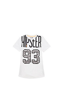 F&F Hipster Number Long Line T-Shirt - White